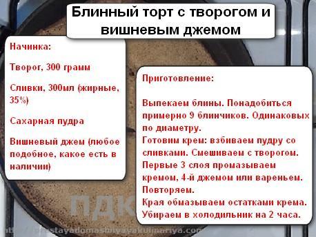 Вlinnyj tort s tvorogom i vishnevym dzhemom